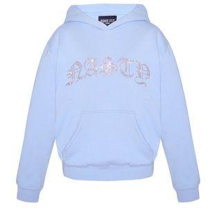 """SALE hidden cult blue """"nasty"""" rhinestone hoodie"""